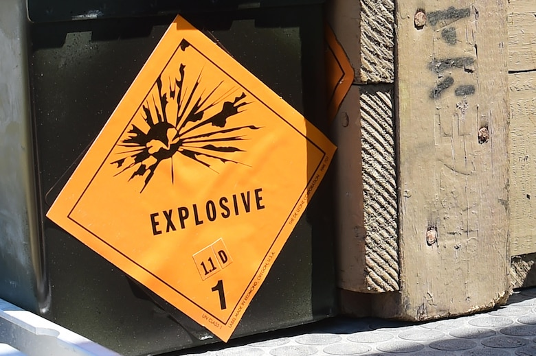 An ammunition box containing explosives is ready for detonation June 23, 2016, at the Airburst Range on Fort Carson, Colo. The 140th Explosive Ordnance Disposal unit practiced their craft at the range, using a 40-pound shape charge, C-4 explosives and detonating cord in order to maintain proficiency. (U.S. Air Force photo by Airman 1st Class Luke W. Nowakowski/Released)