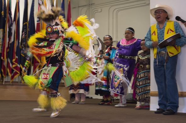 A dancer from the Little Sun Drum and Dance Group performs a traditional Native American dance during the Joint Services Multicultural Event at F.E. Warren Air Force Base, Wyo., June 22, 2016. This is the first year the base held an event that celebrated all the cultural and diversity groups together. (U.S. Air Force photo by Staff Sgt. Christopher Ruano)