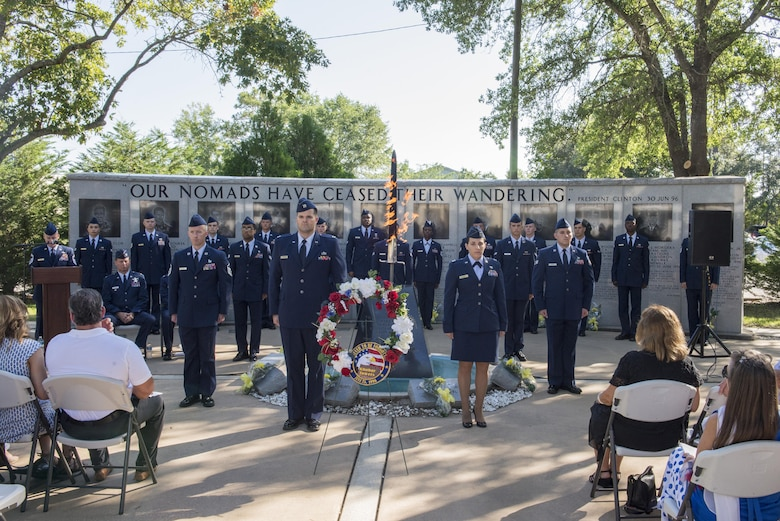 Airmen from the 33rd Fighter Wing represent the 19 Airmen who lost their lives at the Khobar Towers terrorist attack 20 years ago during the Khobar Towers Memorial Ceremony June 24, 2016, at Eglin Air Force Base, Fla. The bombing at Khobar Towers in Dhahran, Saudi Arabia, resulted in more than 500 civilian and military casualties. The 33rd FW suffered 105 wounded personnel and accounted for 12 of the 19 Airmen killed on that day. (U.S. Air Force photo by Senior Airman Stormy Archer/Released)