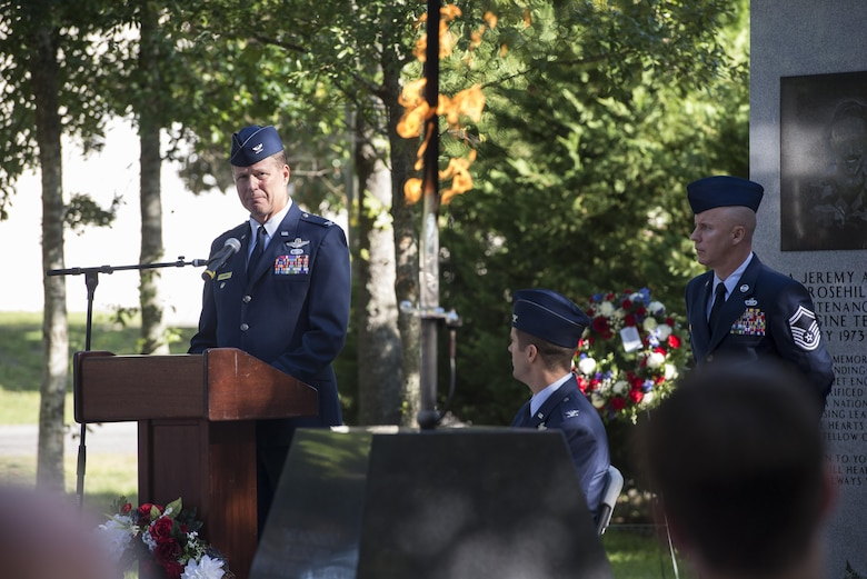 Retired Col. Doug Cochran, commander of the 58th Tactical Fighter Squadron at the time of the Khobar Towers bombing, reflects on his experience from the night of the Khobar Towers terrorist attack June 24, 2016, during the Khobar Towers Memorial Ceremony at Eglin Air Force Base, Fla. The June 25, 1996, bombing at Khobar Towers in Dhahran, Saudi Arabia, resulted in more than 500 civilian and military casualties. The 33rd FW suffered 105 wounded personnel and accounted for 12 of the 19 Airmen killed on that day. (U.S. Air Force photo by Senior Airman Stormy Archer/Released)