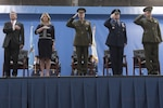 From left, Defense Secretary Ash Carter, Air Force Secretary Deborah Lee James, Marine Gen. Joe Dunford, chairman of the Joint Chiefs of Staff, Air Force Chief of Staff Gen. Mark A. Welsh III, and Marine 1st Lt. Matthew Welsh, render honors as the colors are presented during Gen. Welsh's retirement ceremony at Joint Base Andrews, Md., June 24, 2016. DoD photo by Navy Petty Officer 2nd Class Dominique A. Pineiro