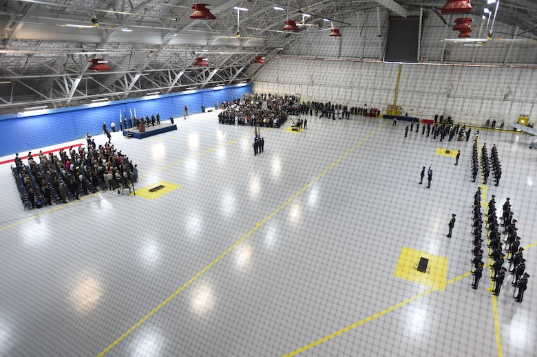 U.S. Air Force Honor Guardsmen perform the presenting of the colors during Air Force Chief of Staff Gen. Mark Welsh III's retirement ceremony at Joint Base Andrews, Md., June 24, 2016. Welsh retired effective July 1, 2016 after 40 years of honorable military service with military leadership, personnel, friends and family attending the ceremony. (U.S. Air Force photo by Senior Airman Joshua R. M. Dewberry)