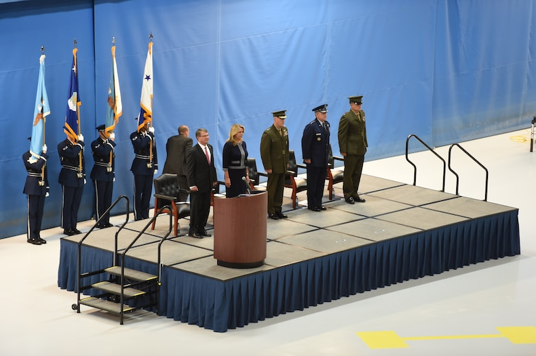 (From left to right) Ash Carter, Secretary of Defense, Deborah Lee James, Secretary of the Air Force, Marine Gen. Joseph Dunford, Chairman of the Joint Chiefs of Staff, Gen. Mark Welsh III, Air Force Chief of Staff, and Marine 1st Lt. John Welsh stand for the presenting of the colors during Gen. Welsh's retirement ceremony at Joint Base Andrews, Md., June 24, 2016. Welsh retired effective July 1, 2016 after 40 years of honorable military service. (U.S. Air Force photo by Senior Airman Joshua R. M. Dewberry)