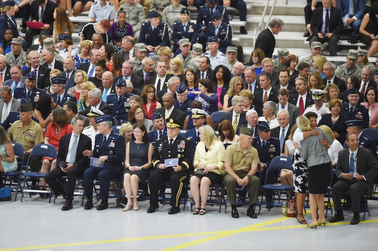 Military leaders, personnel, family and friends gather in honor of the Air Force Chief of Staff Gen. Mark Welsh III, during his retirement ceremony at Joint Base Andrews, Md., June 24, 2016. Welsh retired effective July 1, 2016 after 40 years of honorable military service. (U.S. Air Force photo by Senior Airman Joshua R. M. Dewberry)