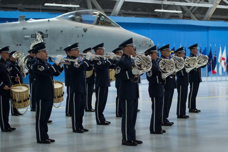 U.S Air Force Band members perform during the retirement ceremony of Air Force Chief of Staff Gen. Mark Welsh III at Joint Base Andrews, Md., June 24, 2016. Welsh retired effective July 1, 2016 after 40 years of honorable military service. (U.S. Air Force photo by Airman 1st Class Rustie Kramer)