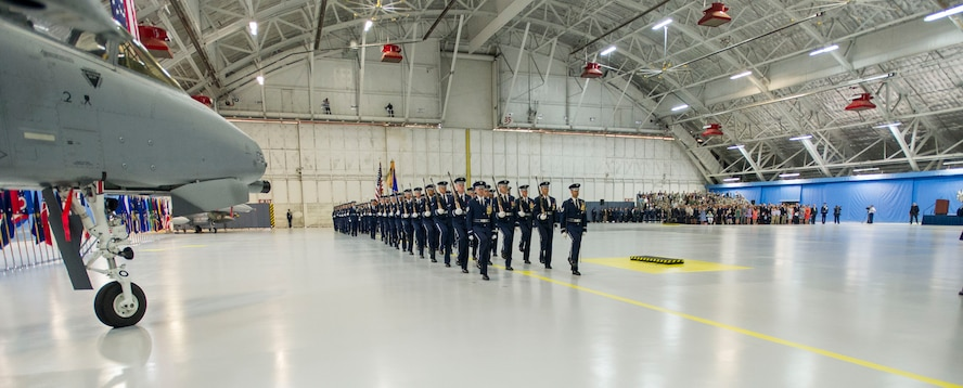 U.S Air Force Honor Guardsmen march in formation during the retirement ceremony of Air Force Chief of Staff Gen. Mark Welsh III at Joint Base Andrews, Md., June 24 2016. Welsh retired effective July 1, 2016 after 40 years of honorable military service with military leaders, personnel, friends and family attending the ceremony. (U.S. Air Force photo by Airman 1st Class Rustie Kramer))