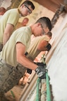 Airman First Class Derick Kvam of the 148th Civil Engineer Squadron of out Duluth, Minn. secures waterlines for kitchen appliances during a Humanitarian Civic Assistance project in Karlovac, Croatia on June 13, 2016.   Kvam along with other members of the Minnesota Air National Guard's 148th Fighter Wing and 133rd Airlift Wing Civil Engineering Squadrons, the Minnesota Army National Guard's 851st Vertical Engineer Company and the Croatian Army Engineering Horizontal Construction Company are working side-by-side to repair and renovate parts of a primary school and should be done in less than a month.