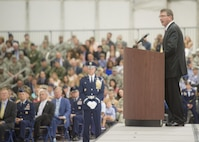 Defense Secretary Ash Carter delivera remarks at the retirement ceremony for Air Force Chief of Staff Gen. Mark A. Welsh III at Joint Base Andrews, Md., June 24, 2016. DoD photo by Navy Petty Officer 2nd Class Dominique A. Pineiro