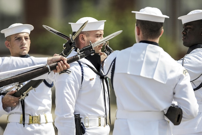 Sailors with the Navy Ceremonial Guard perform during a change of command ceremony at Joint Base Anacostia-Bolling in Washington, D.C., June 24, 2016. Air National Guard photo by Staff Sergeant Christopher S. Muncy