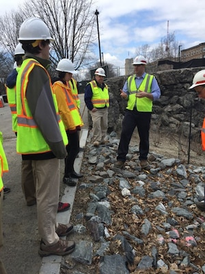 Students get a tour of the Muddy River project during the Symposium on April 19, 2016.