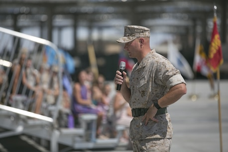 Lt. Col. Lee Rush, outgoing commanding officer, 1st Tank Battalion, addresses the audience during the battalion's change of command at the tank ramp, June 22, 2016. (Official Marine Corps photo by Cpl. Thomas Mudd/Released)