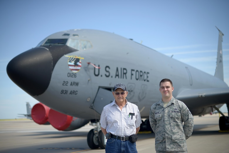 Staff Sgt. Austin Phillips, 22nd Maintenance Squadron wheel and tire section chief, right, poses with his grandfather, retired Staff Sgt. Raymond Hopper, in front of a KC-135 Stratotanker, June 25, 2016, at McConnell Air Force Base, Kan. Phillips is assigned to the KC-135, one of the same airframes his grandfather once worked on nearly 60 years before. (U.S. Air Force photo/Airman 1st Class Christopher Thornbury)