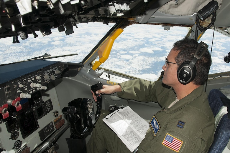 Captain Jason Burrows, 756th Air Refueling Wing pilot, co-pilots a KC-135R Stratotanker over Norway during a refueling mission with Norwegian Air Force F-16s June 13, 2016. Members of the 459th Air Refueling Wing, to include pilots, boom operators and maintainers, are in Europe from mid-June to late July to help provide training and refueling support for Operation Atlantic Resolve. OAR aims to ensure peace and stability in Eastern Europe in the wake of Russia's intervention in Ukraine.  (U.S. Air Force photo/Staff Sgt. Kat Justen)