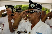 Members of the Korean War Veterans of Hawaii salute during a ceremony at the National Memorial Cemetery of the Pacific in Honolulu June 25, 2016, marking the 66th anniversary of the start of the Korean War. Marine Corps photo by Lance Cpl. Robert Sweet