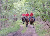 Command Sgt. Maj. Joseph Cornelison, 1st Infantry Division senior noncommissioned officer, participates in the Victory Week 2016 trail ride June 7 at Fort Riley. The event was led by the Commanding General's Mounted Color Guard.