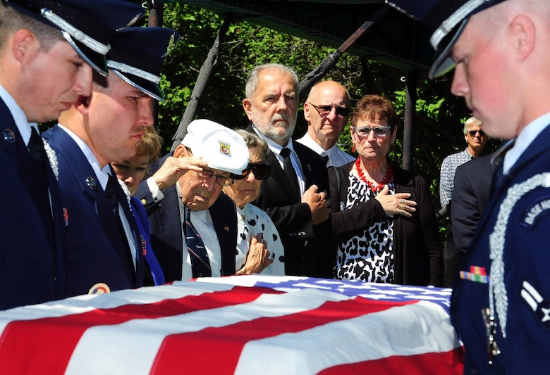 Retired Lt. Col. Richard Cole, the last surviving Doolittle Raider, center, salutes as members of the Malmstrom Air Force Base Honor Guard render military honors during a funeral service in honor of Staff Sgt. David J. Thatcher June 27, 2016, in Missoula, Mont. Thatcher was the second to last remaining Doolittle Raider and is a recipient of the Congressional Gold Medal and Air Force Silver Star. His other decorations include the Distinguished Flying Cross, Air Medal with four oak leaf clusters, and the Chinese Army, Navy and Air Corps Medal. (U.S. Air Force photo by 2nd Lt. Annabel Monroe)
