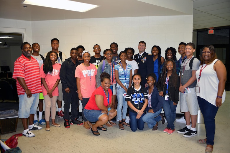 Lt. Col. Stephen F. Murphy, commander of the Nashville District, poses with students after a lecture at the Tennessee State University June 24, 2016.  The students are attending a 4-week National Summer Transportation Institute program where they gain knowledge on transportation and engineering.
