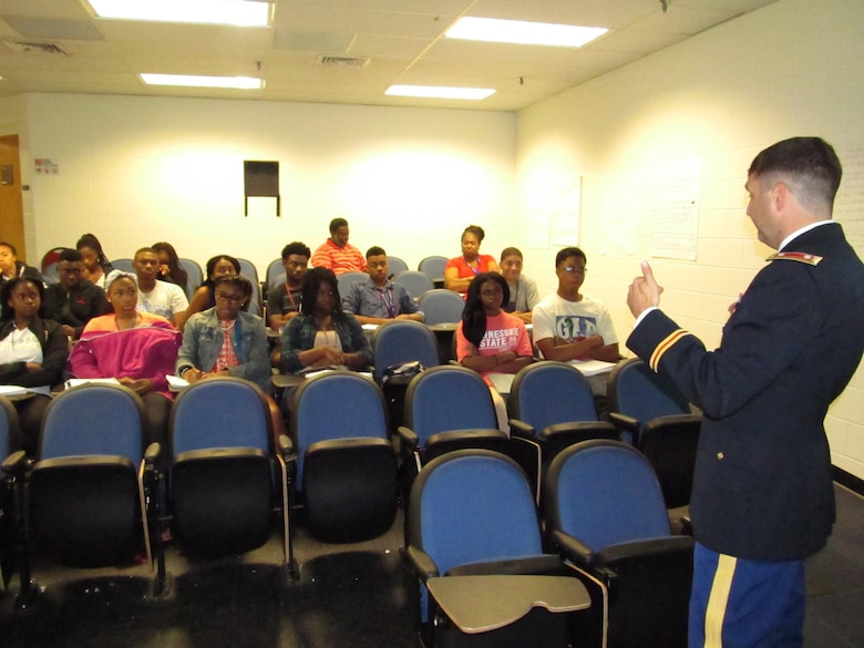 Lt. Col. Stephen F. Murphy, commander of the Nashville District, talks with students attending the National Summer Transportation Institute program June 24, 2016, on a variety of engineering classes and current district projects during a lecture on the campus of Tennessee State University.