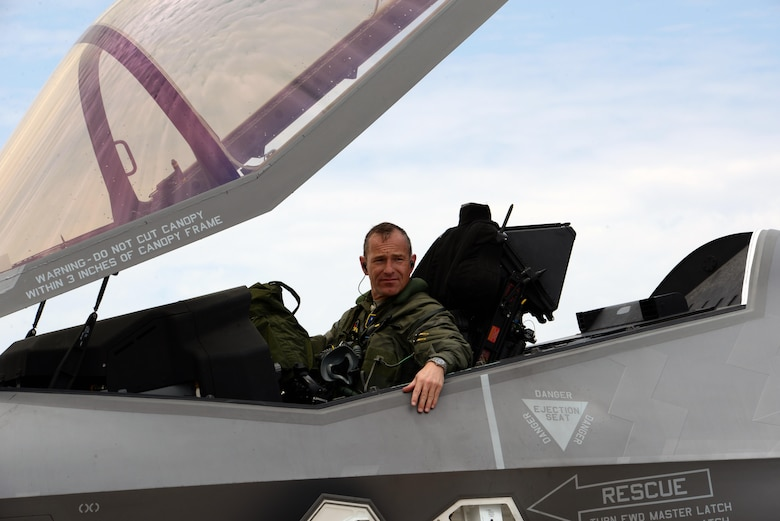 Brig. Gen. Scott Pleus, 56th Fighter Wing commander, prepares to exit the cockpit after his final flight in an F-35 Lightning II June 27, 2016. His two-year tenure as commander was filled with change as the wing shifted its mission to include the F-35. (U.S. Air Force photo by Airman 1st Class Ridge Shan)