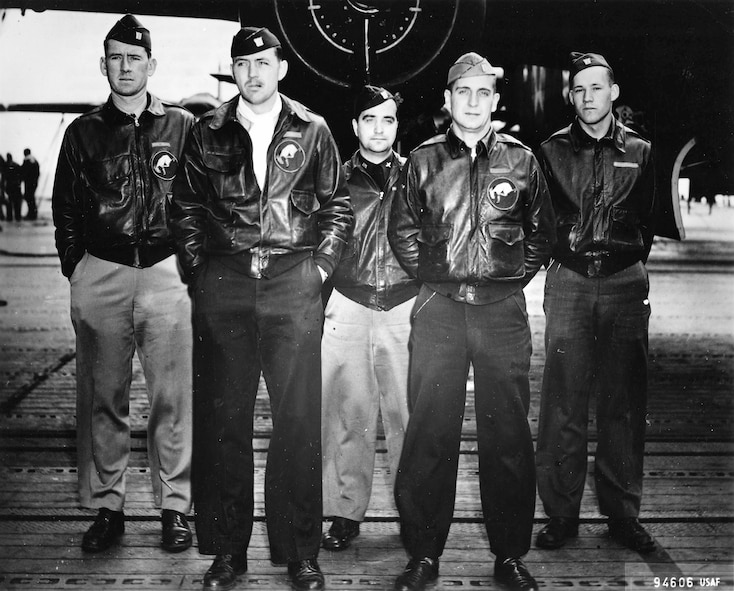 U.S. Army Air Corps Staff Sgt. David Thatcher (fifth from left) with the crew  of the Ruptured Duck, one of 16 B-25 Mitchell bombers that launched off the deck of the aircraft carrier the U.S.S. Hornet and headed to the coast of  Japan to wreak havoc on the Japanese empire April 18, 1942. After dropping its payload, the Ruptured Duck crashed into the China Sea. Thatcher helped save his other four crew members who were seriously hurt and protected them on a beach. (Photo provided courtesy of the Doolittle Tokyo Raiders official website/Released).