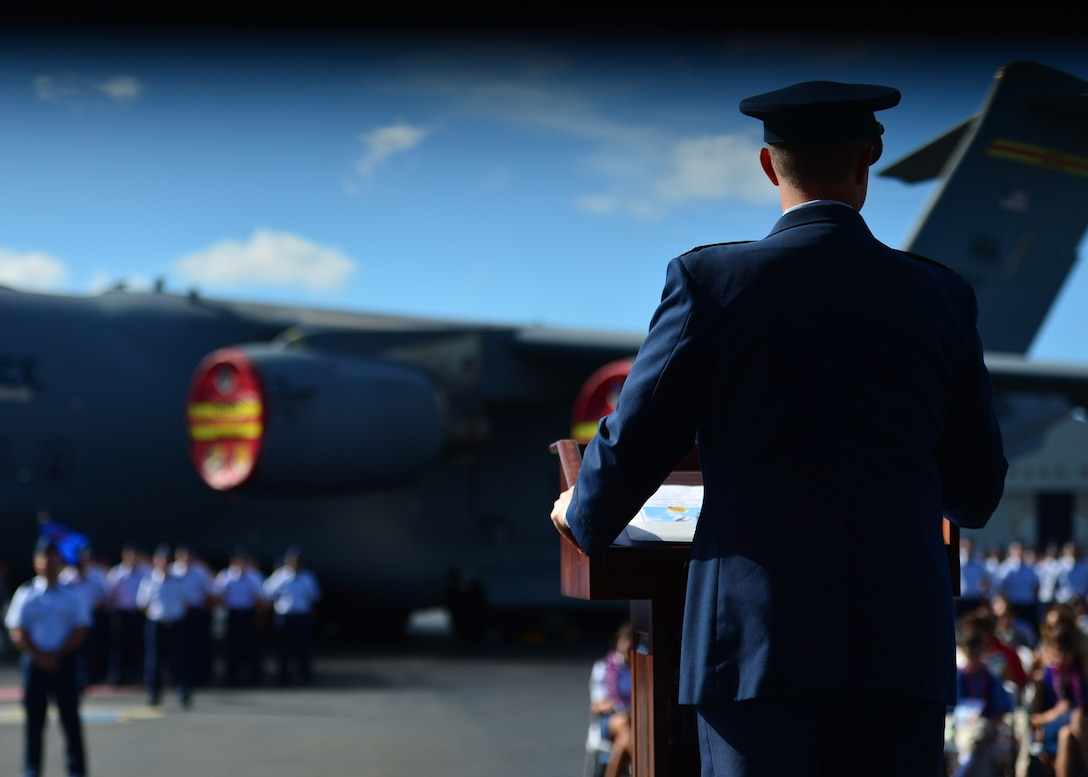Colonel Randall Huiss, 15th Wing commander, speaks during the 15th Wing Change of Command Ceremony on Joint Base Pearl Harbor-Hickam, June 27, 2016. During the ceremony, Huiss, former 15th Wing commander, relinquished command to Col. Kevin Gordon. Gordon became the 72nd commander of the 15th Wing following the ceremony today.  (U.S. Air Force photo by Tech. Sgt. Aaron Oelrich/Released)