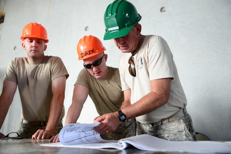 From the left, Airman First Class Matthew Johnson, Staff Sgt. William Zurek, and Master Sgt. Daniel Peterson with the 157th Civil Engineering Squadron review design plans for construction of the Commando Warrior Field Training Facility Anderson Air Force Base, Guam, June 20, 2016. 157CES Airmen are deployed to Guam for annual where they are working on a construction project for the Pacific Command Regional Training Center. (Air National Guard photo by Airman 1st Class Ashlyn J. Correia)