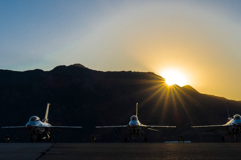 U.S. Air Force Thunderbirds jets sit on the flightline at Hill Air Force Base, June 26, before the gates opened for the Warriors Over the Wasatch Air Show and Open House. Hundreds of thousands attended the 2-day event. (U.S. Air Force photo by Paul Holcomb)