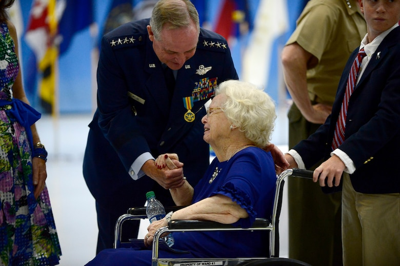 Air Force Chief of Staff Gen. Mark A. Welsh III has a moment with his mother following his retirement ceremony at Joint Base Andrews, Md., June 24, 2016. Welsh has served as the 20th chief of staff since 2012. (U.S. Air Force photo/Tech. Sgt. Joshua L. DeMotts)