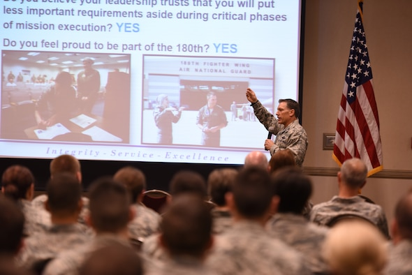 Col. Craig R. Baker, 180th Fighter Wing commander, delivers his final commander's call to the Airmen of the 180th Fighter Wing at Alpena Combat Training Center in Alpena, Michigan, on June 22. (Photo by Staff Sgt. John Wilkes)