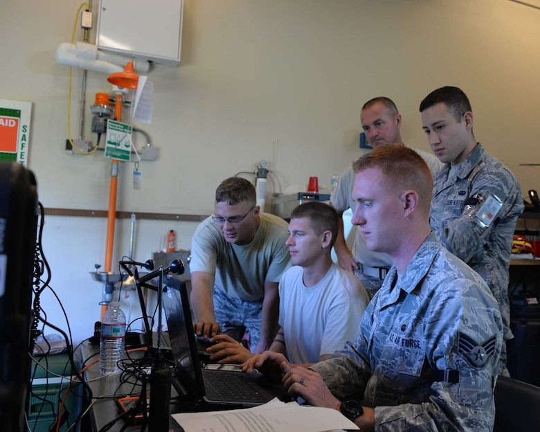 Airmen from the 119th  Command and Control Squadron provide communication accessibility using the Joint Incident Site Communication Capability Terminal (JISCC) at Memphis Air National Guard Base, Tennessee during the Tennessee Maneuvers 2016 Exercise June 21.  (U.S. Air National Guard photo by Staff Sgt. Dan Gagnon, 134 ARW Public Affairs)