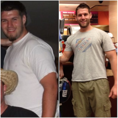 Matthew Eckenrode's before and after weight loss picture. Eckenrode said once he saw the photo on the left, he made a decision to live a healthier lifestyle. Now 40 pounds lighter (right), he is feeling better physically, spiritually, mentally and socially.
