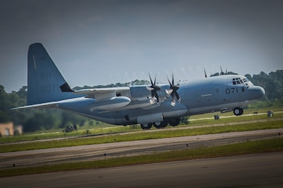 A KC-130J Super Hercules takes off from the flight line aboard Marine Corps Air Station Beaufort June 27. The aircraft is visiting Fightertown to support training operations in conjunction with local squadrons. MCAS Beaufort handles more than 500 arrivals and departures each month and hosts numerous visiting commands to support flight operations across the Marine Corps. The Hercules is with Marine Aerial Refueler Transport Squadron 252.