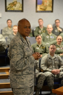 Maj. Gen. Anthony Cotton, the 20th Air Force and Task Force 214 commander, speaks to missile combat crew members from the 341st Operations Group during a visit to Malmstrom Air Force Base, Mont., June 21, 2016. Cotton visited the base June 19-21 and met with Airmen from the nuclear and missile operations career field to discuss upcoming changes as the Air Force begins to implement a restructure for the 13N career field. (U.S. Air Force photo/Airman 1st Class Magen Reeves)