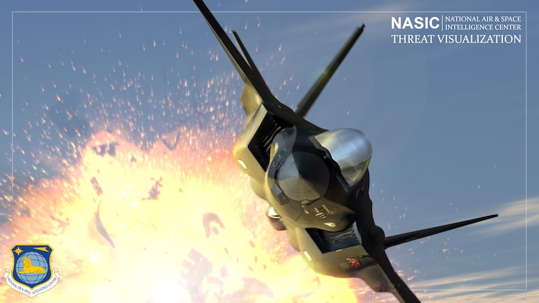 Dynamic explosions, missile launches and air-to-air dogfights are just a few animations the National Air and Space Intelligence Center threat visualization team at Wright-Patterson Air Force Base, Ohio, create to help communicate potential threats in the world. For the last decade, these types of animations have allowed policymakers at all levels of government to watch a video clip, rather than read a stack of intelligence reports filled with military jargon and technical data. (U.S. Air Force graphic/Justin Weisbarth)
