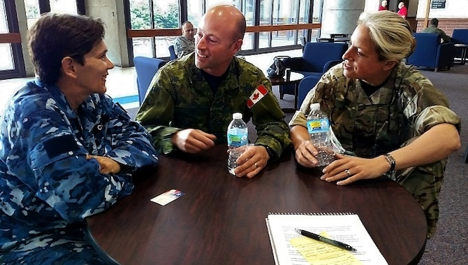 Wing Commmander Kate Carlisle, a logistics officer with the Royal Australian Air Force, Maj. Tony Pepin, the head of doctrine at the Canadian Air Warfare Center, and Squadron Leader Angela Robinson, an officer with United Kingdom's Royal Air Force, chat during a break in action of a wargame at the United States Air Force Expeditionary Center on Joint Base McGuire-Dix-Lakehurst, New Jersey, Jun. 24. The three officers contributed their subject-matter expertise to the wargame known as Global Mobility/Agile Combat Support, or GLOMO/ACS. (U.S. Air Force photo by Senior Master Sgt. Shawn J. Jones)