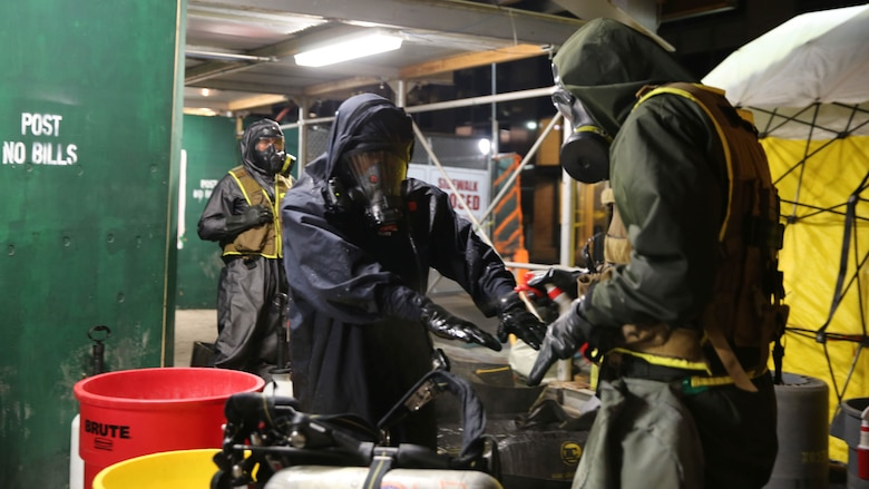 Marines and sailors with Chemical Biological Incident Response Force train alongside the Fire Department of New York for a field training exercise at the F.D.N.Y. training academy in Randall's Island, N.Y. June 20, 2016. CBIRF is an active duty Marine Corps unit that, when directed, forward-deploys and/or responds with minimal warning to a chemical, biological, radiological, nuclear or high-yield explosive threat or event in order to assist local, state, or federal agencies and the geographic combatant commanders in the conduct of CBRNE response or consequence management operations, providing capabilities for command and control; agent detection and identification; search, rescue, and decontamination; and emergency medical care for contaminated personnel.