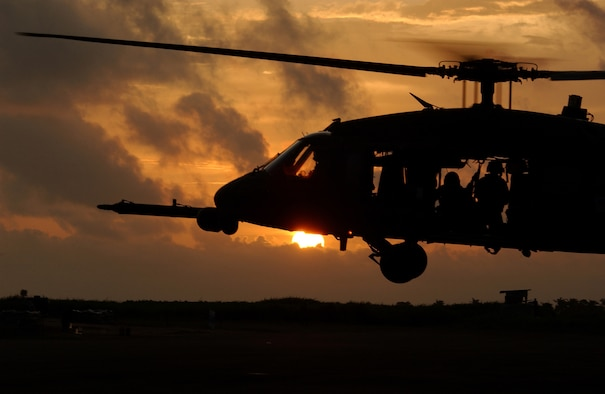 An HH-60G Pave Hawk prepares to land after training in Lungi, Sierra Leone. The Air Force introduced the first of 21 fully built HH-60G Operational Loss Replacement helicopters at a ceremony in Huntsville, Alabama, on June 28, 2016. (U. S. Air Force photo/Tech. Sgt. Justin D. Pyle)