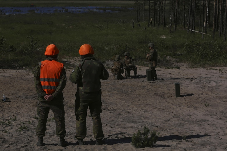 U.S. Marines joined a multinational force during BALTOPS 16 demonstrating their ability to rapidly amass forces in the Baltic Sea..(U.S. Marine Corps photo by Cpl. Lucas Hopkins/Released)
