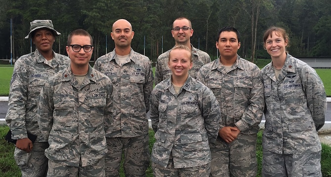 Airmen from the 22nd Medical Group pose for a photo, June 3, 2016, in La Blanca, Guatemala, during a medical readiness training exercise. During the exercise, approximately 8,500 patients were treated to help prepare military members for situations they could encounter during real-world deployments. (Courtesy photo)