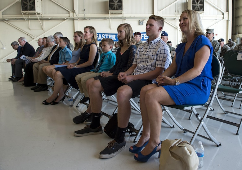 Family and friends listen to remarks during the 93d Air Ground Operations Wing change of command ceremony, June 28, 2016, at Moody Air Force Base, Ga. Upon activation in 2008, the 93d AGOW became the only wing to provide highly trained ground combat forces capable of integrating air and space power into the ground scheme of fire and maneuver. (U.S. Air Force photo by Airman 1st Class Janiqua P. Robinson/Released)