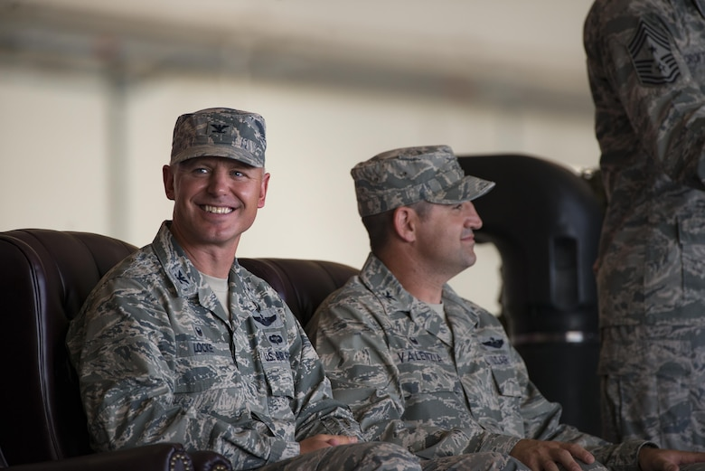 U.S. Air Force Col. Joseph Locke, 93d Air Ground Operations Wing commander, listens to remarks during a change of command ceremony, June 28, 2016, at Moody Air Force Base, Ga. Throughout his career, Locke has deployed in support of Operations Enduring Freedom, Iraqi Freedom and Southern Watch. (U.S. Air Force photo by Senior Airman Ryan Callaghan/Released)
