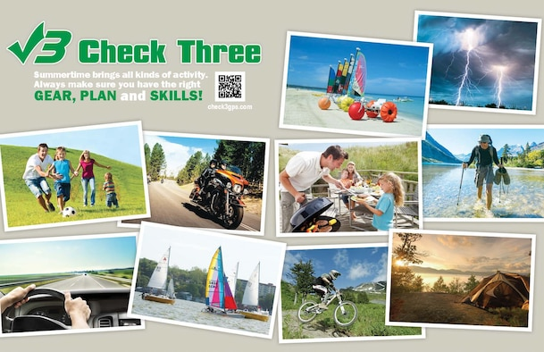 The Check3 GPS campaign was created to bring awareness to summertime activities. Individuals should always make sure they have the right gear, plan and skills to stay safe, no matter the season. (U.S. Air Force illustration)