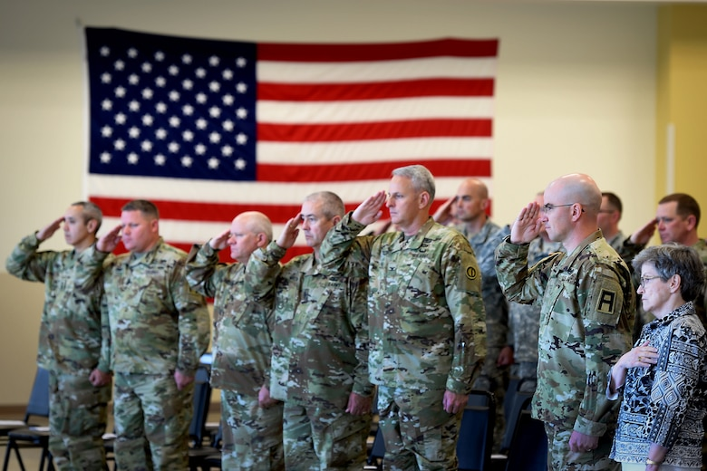 The Army Reserve's 85th Support Command senior leaders, along with soldiers assigned to the 3rd Battalion, 383rd Regiment, salute the Fallen Soldier battle cross display during a Fallen Soldier memorial held June 25, 2016 at the battalion in St. Louis. Capt. Antonio D. Brown, a 3-383rd member, was one of the 49 victims killed in the Orlando nightclub shooting June 12, 2016. (U.S. Army photo by Sgt. Aaron Berogan/Released)