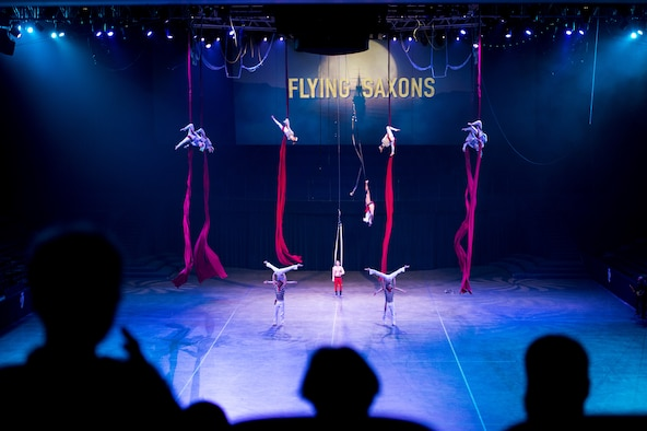 Members of the Flying Saxons practice aerial maneuvers during the 2016 Royal Nova Scotia International Tattoo media preview at the Scotiabank Centre in Halifax, Nova Scotia, June 27, 2016. The Saxons are one of the many groups representing Germany. Other countries include Canada, Kenya, New Zealand, Switzerland and the United States. (U.S. Air Force photo by Senior Airman Ryan J. Sonnier)
