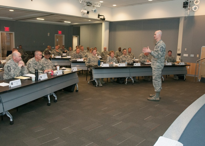 Chief Ronald C. Anderson, the 12th Air National Guard Command Chief talks with his first class of new ANG chiefs during Chiefs Executive Course at the ANG Readiness Center, Joint Base Andrews June 21, 2016. CEC is a weeklong course designed to provide new chief master sergeants with a broad view of ANG and Air Force operations and provide them with tools to operate effectively at the tactical and operational levels. (U.S. Air National Guard Photo by Master Sgt. David J. Fenner /RELEASED)
