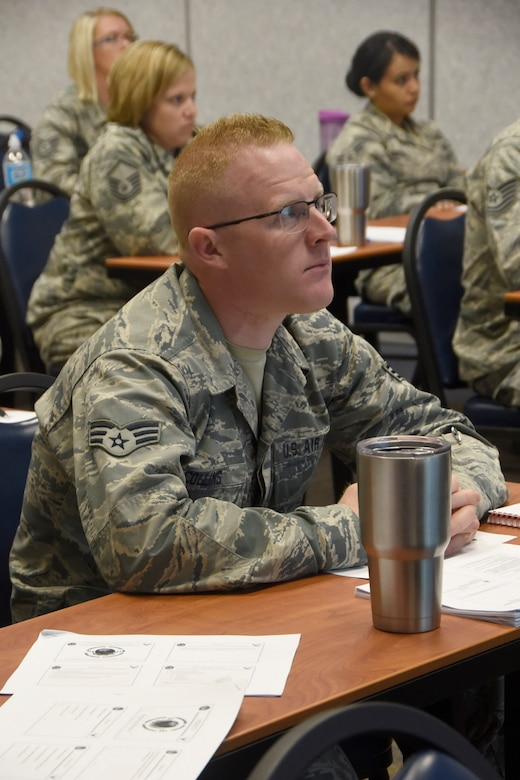VOLK FIELD, WI- Senior Airman Jason Collins, 114th PERSCO team member, participates in annual home station training June 20-26. The team trained under the instruction of Senior Master Sgt. Rebecca Boddicker, 155th Air Refueling Wing PERSCO team chief, and with the 155th PERSCO team. (U.S. Air National Guard photo by Tech. Sgt. Abbey Rotter/Released)