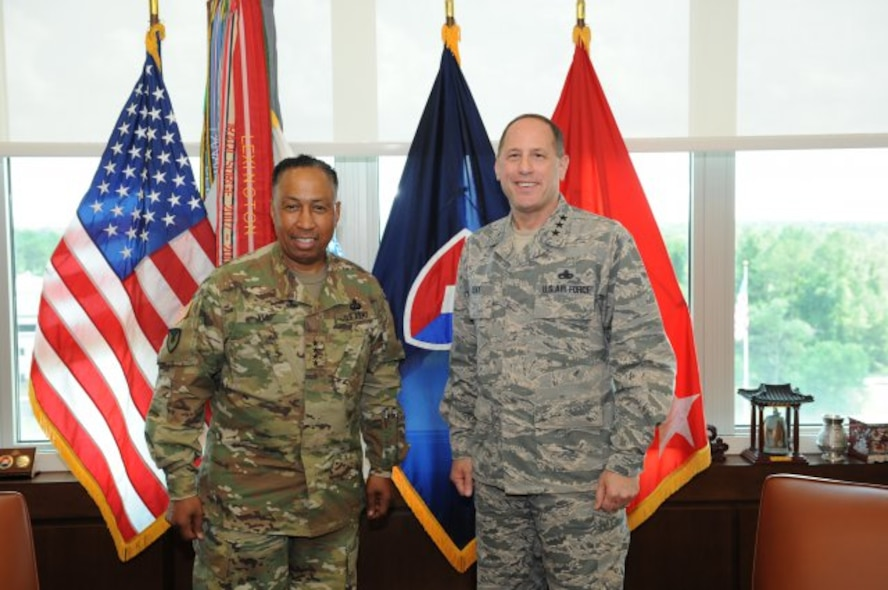 U.S. Army Materiel Command's Commander Gen. Dennis L. Via hosted Air Force Lt. Gen. Lee Levy II, commanding general of the Air Force Materiel Command's Air Force Sustainment Center, for an overview on AMC's global mission and role in supporting readiness, June 22. (Photo Credit: Doug Brewster, AMC photographer/Released)