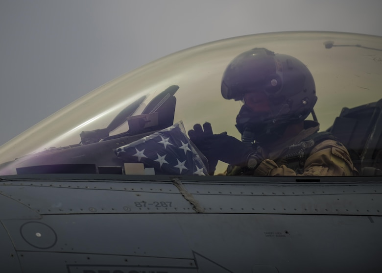 Lt. Col. David Efferson, 457th Expeditionary Fighter Squadron commander, prepares to taxi out in an F-16C Fighting Falcon, June 28, 2016, Bagram Airfield, Afghanistan. The 457th EFS is Air Force Reserve Command unit out of Naval Air Station Fort Worth Joint Reserve Base, Texas who continuously supports Operation Freedom's Sentinel and the NATO Resolute Support mission. (U.S. Air Force photo by Senior Airman Justyn M. Freeman)