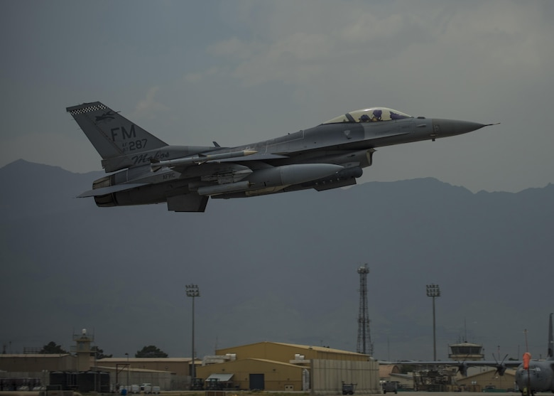 Lt. Col. David Efferson, 457th Expeditionary Fighter Squadron commander, takes off in an F-16C Fighting Falcon, June 28, 2016, Bagram Airfield, Afghanistan. The 457th EFS is the Air Force Reserve Command unit out of Naval Air Station Fort Worth Joint Reserve Base, Texas who continuously supports Operation Freedom's Sentinel and the NATO Resolute Support mission. (U.S. Air Force photo by Senior Airman Justyn M. Freeman)