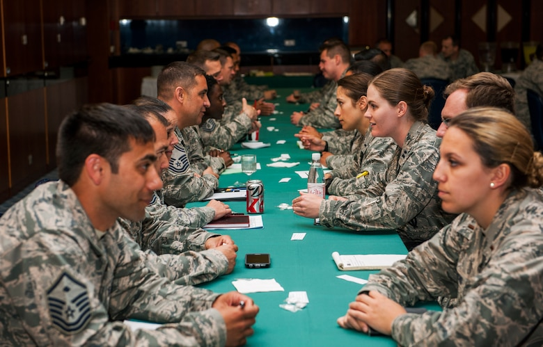 U.S. Air Force officers and senior NCOs discuss leadership tips during a speed mentoring session at Club Eifel on Spangdahlem Air Base, Germany, June 28, 2016. The session encouraged company grade officers to ask questions and exchange contact information to broaden their perspectives on leadership from senior enlisted members. (U.S. Air Force photo by Airman 1st Class Timothy Kim/Released)